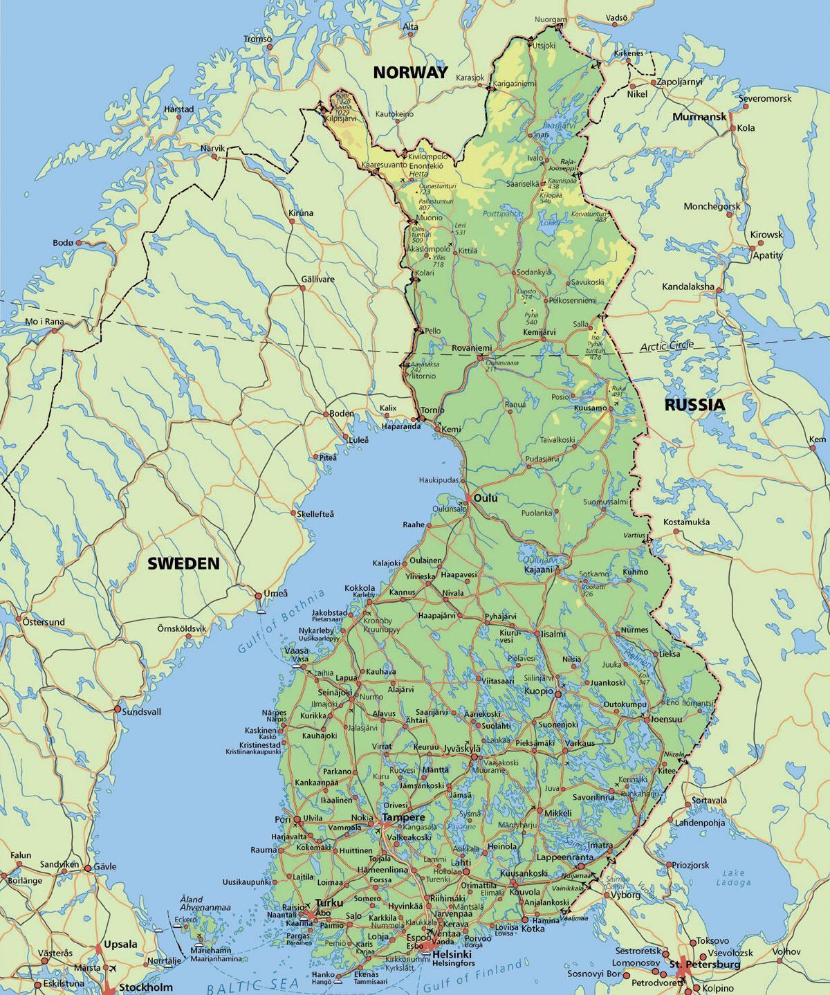 Napapiirin Suomi Kartta Kartta Arctic Circle Suomessa Pohjois