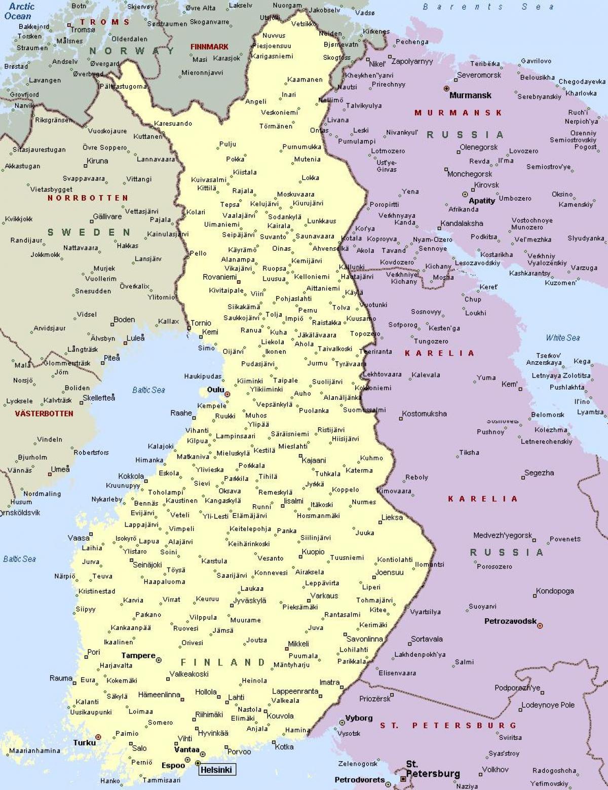 Suomen Kaupungit Kartta Suomen Kartta Jossa Kaupungit Pohjois