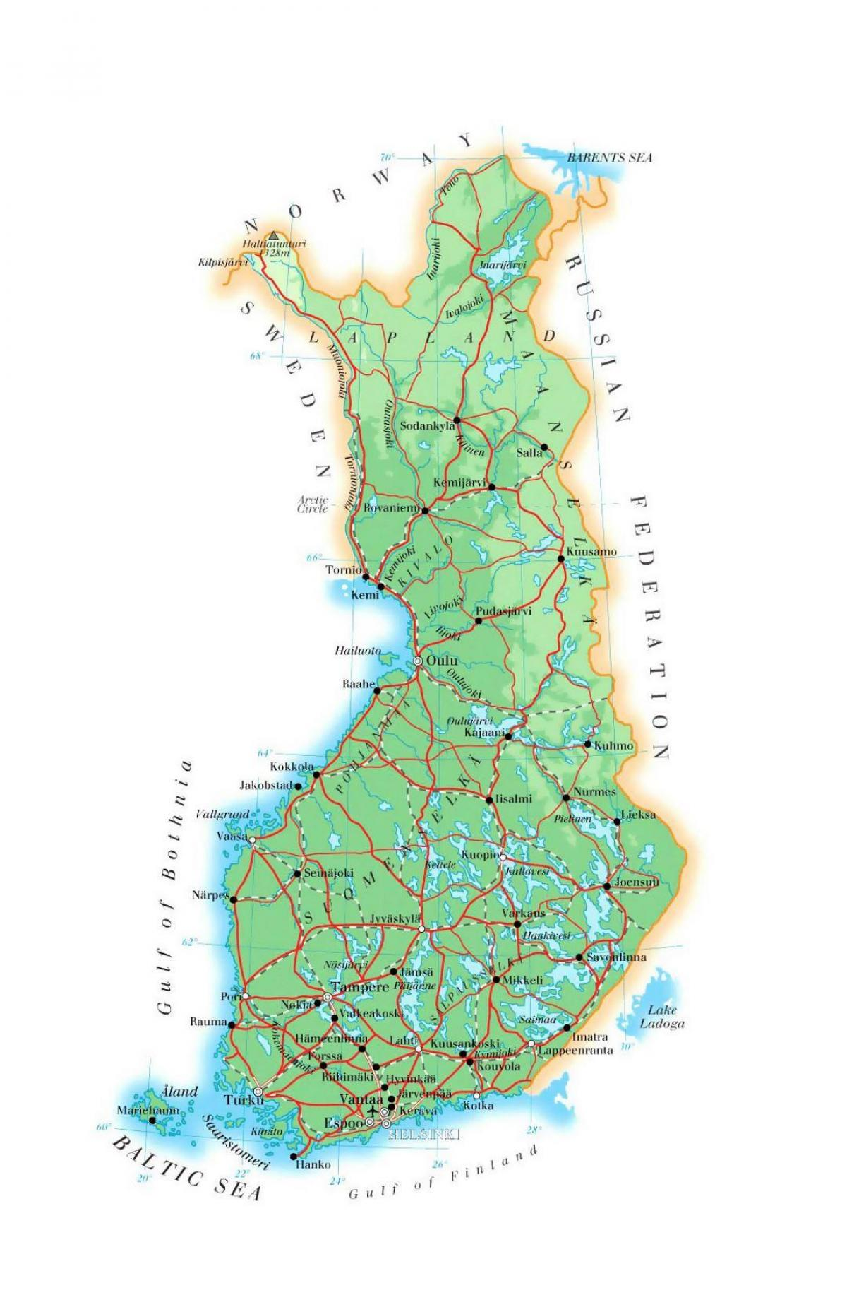 Suomen Elevation Map Kartta Suomessa Korkeus Pohjois Eurooppa